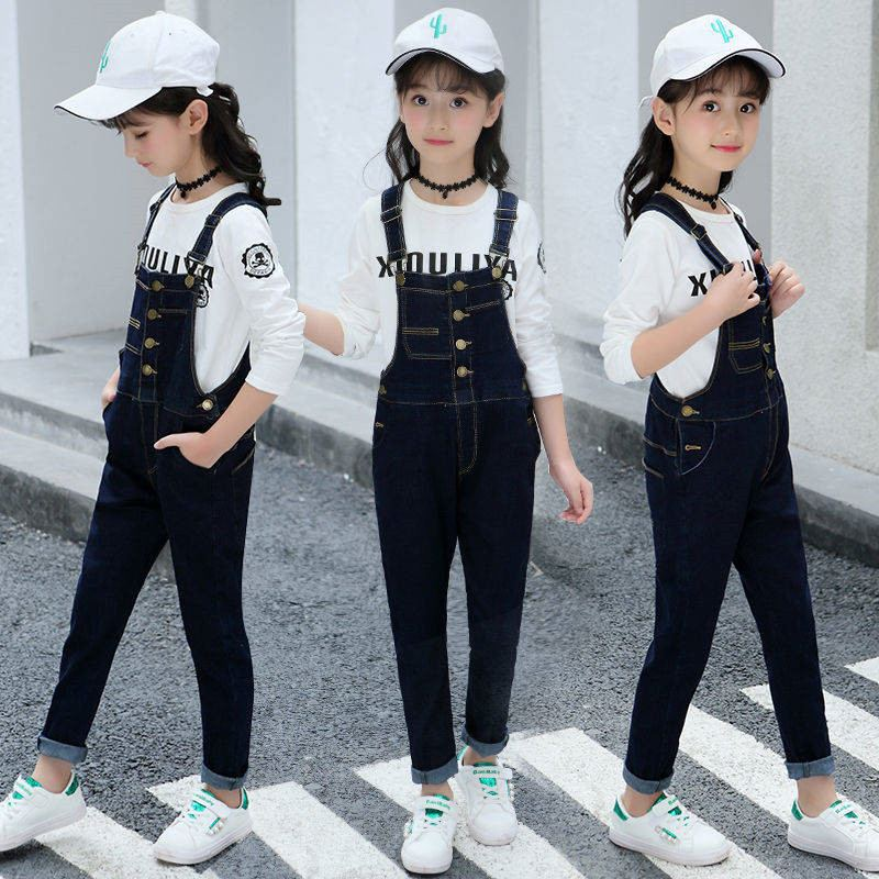 New Spring Autumn Jumpsuit For Girls Kids Denim Pants Kids Jumpsuit Clothes Baby Girl Overalls Teenage Girls Jeans Overall T151
