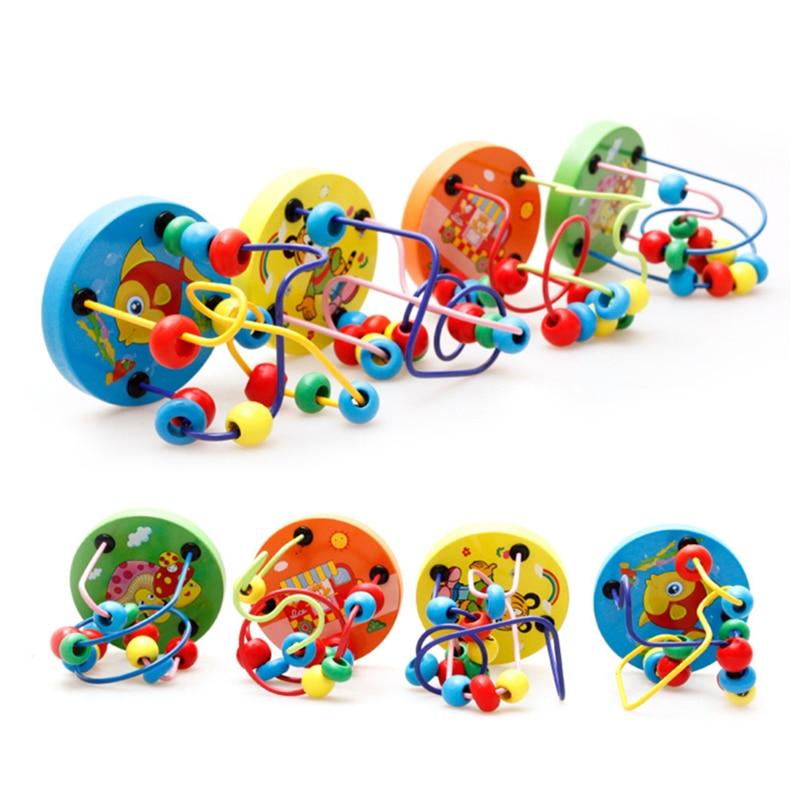 Fargerike Wooden Mini Around Perler Barn Barn Perler Dyreleker Toys - Bygg og teknikk leker - Bilde 5