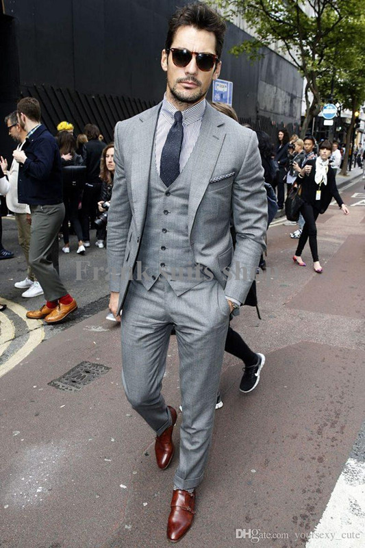 Online Shop 2017 Custom made Mens Light Grey Suits Fashion Formal ...