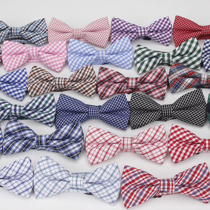 36Colors Brand New Style Plaid Kid Bowtie Cotton Children Bowties Baby Kid Classical Pet Dog Cat Striped Butterfly Child Bow Tie
