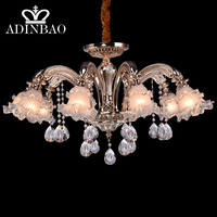 French Romantic Crystal Chandeliers Lamp Art Metal Big LED Crystal Chandeliers 10 Lights Handmade Glass Artist