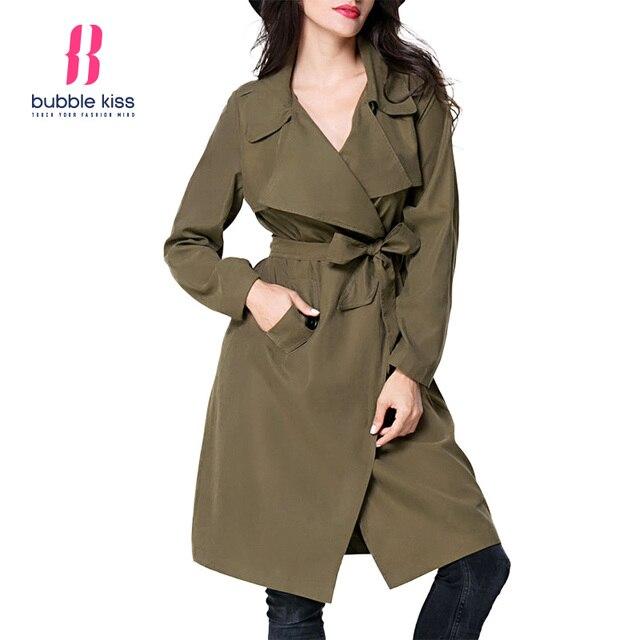 Женщины Повседневная Длинную Траншею Пальто Осень Дамы Обычная Повседневная С Длинным Рукавом Основные С Pocket Wrap Сплошной Цвет Пальто Bubblekiss