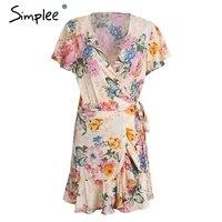 Simplee V Neck Boho Summer Dress Women Floral Print Short Sleeve Mini Dress Female Casual Sash