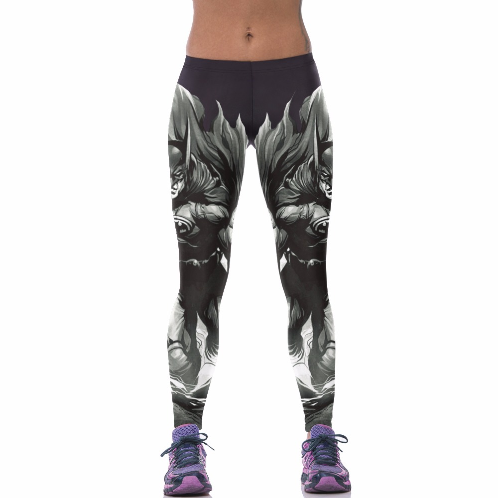 3 Patterns Cosply Batman Print Plus Size Leggins Women Cartoon Print Black WHite Blue Elastic Spring   Legging   Pants