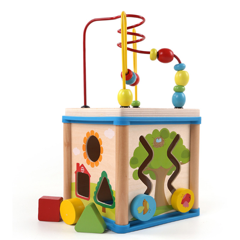 Children Wooden Multi-Function Puzzles Round Bead Treasure Box Early Learning Intellectual Development Parenting Math Toy