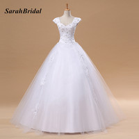 White Lace Short Sleeves Wedding Dresses Prience Ball Gown Long Bridal Gowns With Beading vestidos de novia In Stock S038A