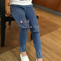 Girls Jeans Cute Cartoon Pattern Kids Jeans Lovely Cat Girl Denim Pants Casual Trousers Children Clothing