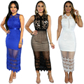 Sale White / Black / Blue Lace Stitching Hollow Out Summer Dress Plus Size Vestidos Elegant Evening Party Casual Dresses