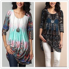 T-Shirt Dress O-Neck Vestidos Long Vintage Plus-Size Casual Summer Female Print A-Line