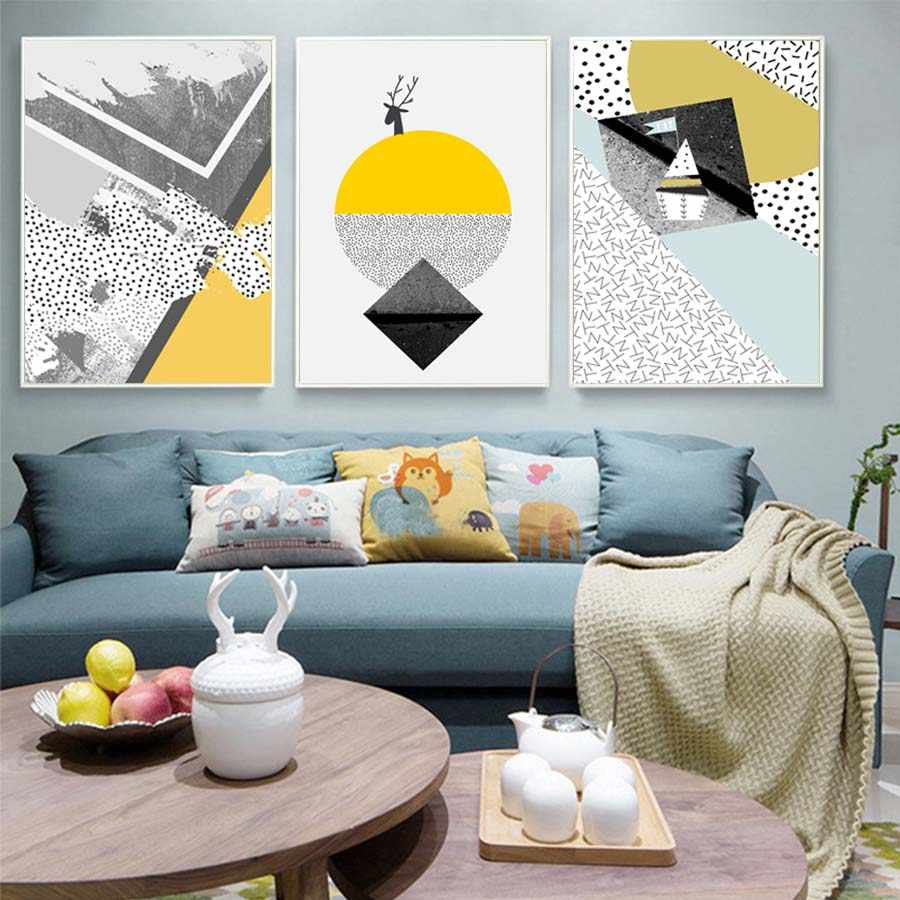 Geometric Yellow Abstract Modular Wall Picture Living Room Modern Canvas Painting Home Decor Wall Art Chart Poster&Print Murals