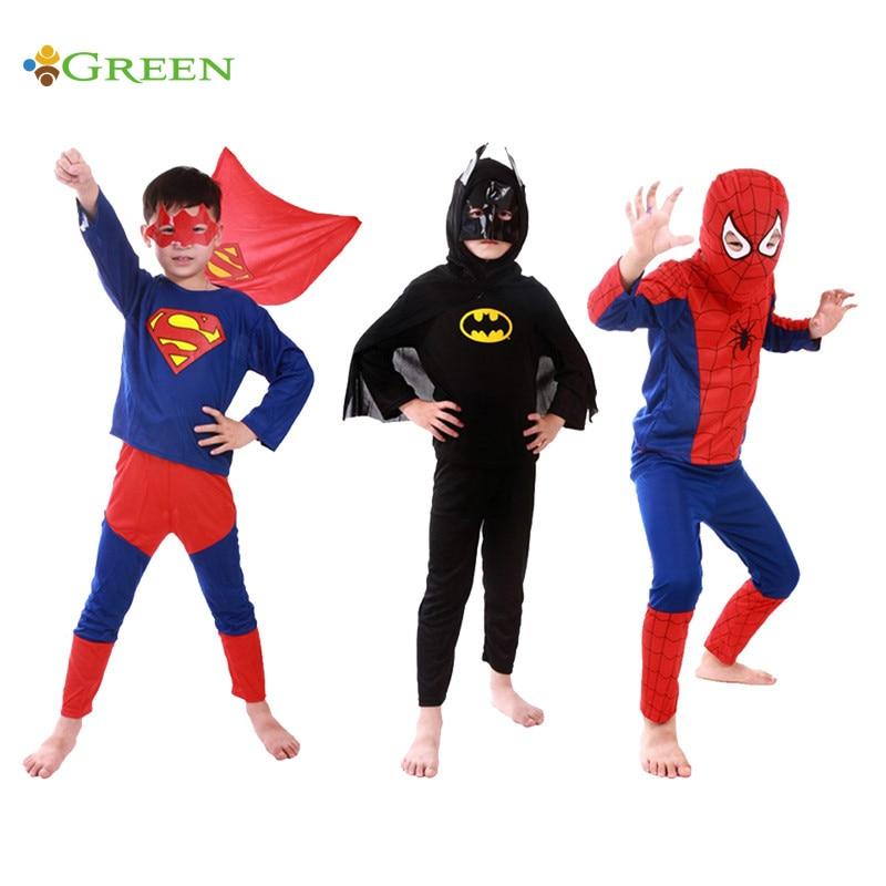 (Spiderman+Batman+Superman)/Lot Childrens Birthday Party Superhero Costumes Cloths Boys Children Superman Costume Cape For Kids
