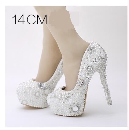 White Pearl Women Wedding Shoes Glitter Gorgeous Crystal Rhinestone High Heels Women's Pumps Platform Shoes Woman Bridal Shoes