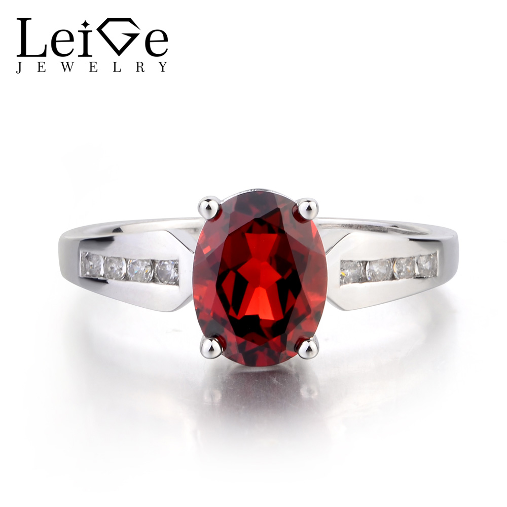 Leige Jewelry Real Natural Garnet Ring Engagement Ring Oval Cut Red Gemstone Ring  January Birthstone 925 Sterling Silver RingLeige Jewelry Real Natural Garnet Ring Engagement Ring Oval Cut Red Gemstone Ring  January Birthstone 925 Sterling Silver Ring