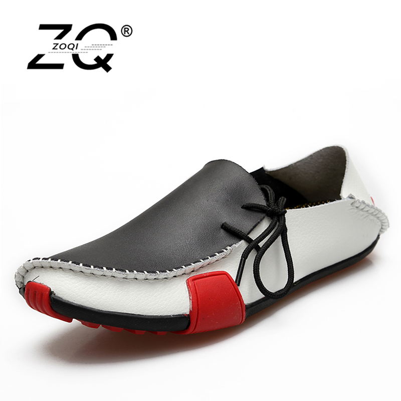 ZOQI Fashion Men Shoes Summer Cool Slip On Genuine Leather Shoes Men's Flats Shoes Low Mens casual Oxford Shoe for Men e lov women casual walking shoes graffiti aries horoscope canvas shoe low top flat oxford shoes for couples lovers