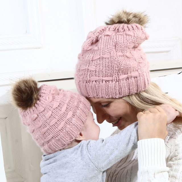 311f04a0d Aliexpress.com : Buy Mom Baby Hat Pompon Winter Warm Beanie Caps Kids  Knitted Parent Child Hat from Reliable Hats & Caps suppliers on Classic fun  ...
