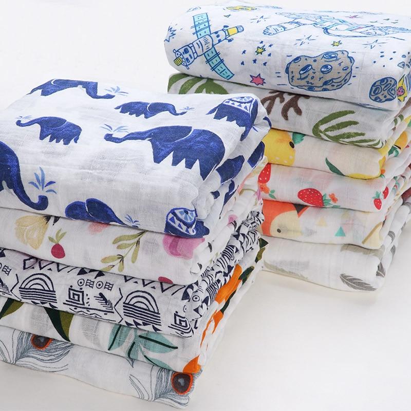 High Quality Cotton Baby Blanket Newborn Infant Bebe Swaddle Wrap Stroller Accessories Flamingo Cartoon Animal Print Baby Stuff