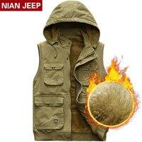 NIAN JEEP Brand Autumn Winter Thicken Warm Vest New Design Mens Jacket Sleeveless Vest Hooded Travels