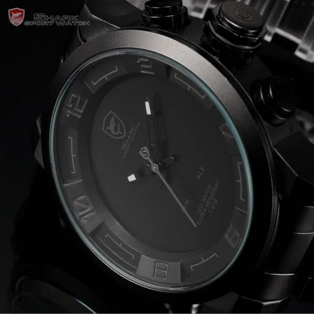 654368a1496 Tubarão Esporte Relógios Homens Digital LED Vermelho Preto Dual Time Auto  data Completa Alça Aço Relógio