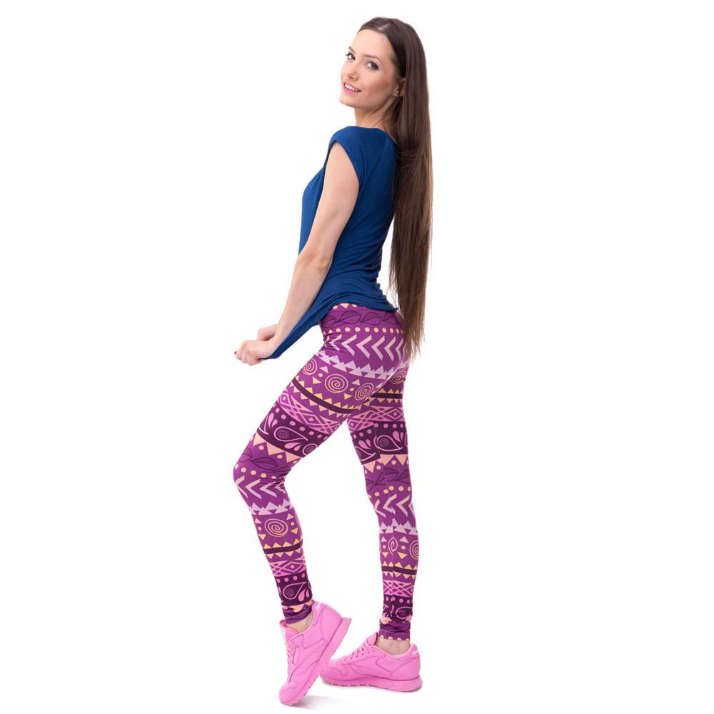 Zohra Brands Women Fashion Legging Aztec Round Ombre Printing leggins Slim High Waist Leggings Woman Pants 30