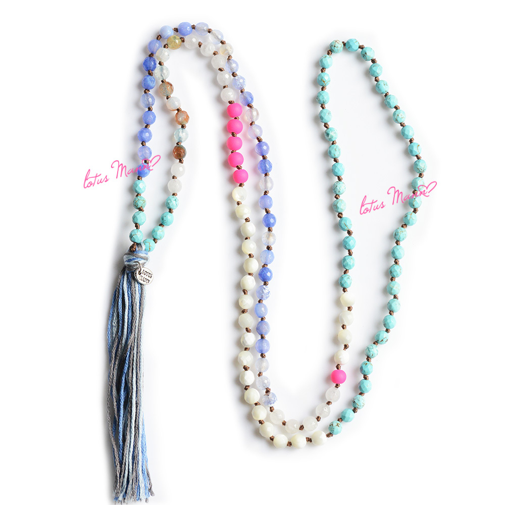 Lotus Mann Mother-of-pearl fluorescent pink various semi-precious stones weaving 128 super long necklace