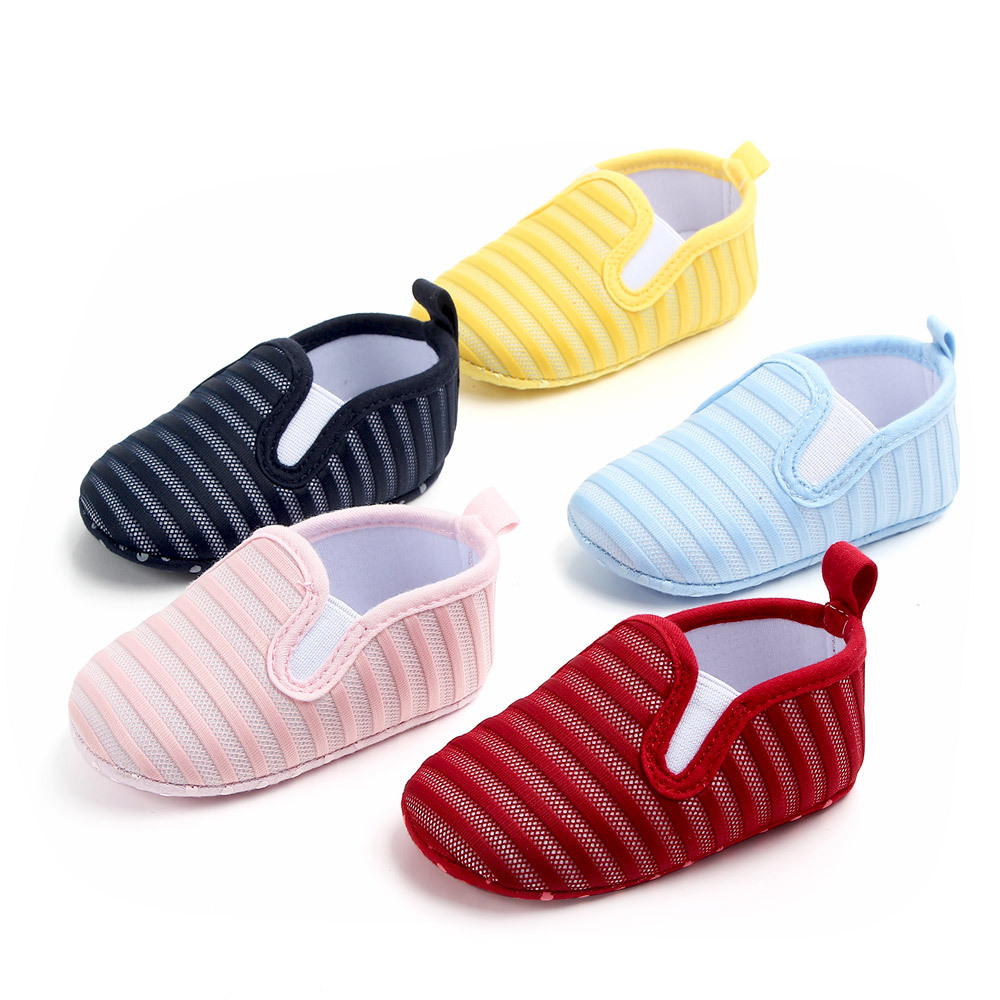 Baby Girl Shoes Infant Newborn Spring Soft Sole Lovely Slip-On First Walkers Toddler Striped Mesh Sneaker Crib Shoes