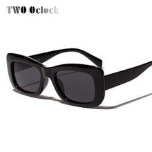 TWO Oclock Retro Square Sunglasses Women Narrow Black White Cheap