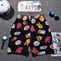 Рок стиль быстрого высыхания и дышащий микки печатных человек пляжные шорты цветастые шорты щенок молодежные брюки