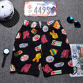 Rock style fast drying and breathable mickey printed man beach short colorful board shorts puppy  youth trousers