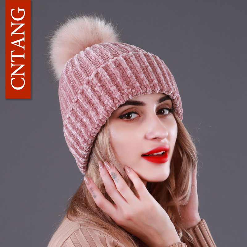 CNTANG Knitted Faux Raccoon Fur Pompom For Hats Women Winter Warm Caps Fashion Skullies Beanies Casual Female Hat High Quality