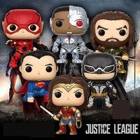 Funko pop DC Comics Justice League Super Hero Superman Batman Flash Neptune Wonder Woman Cyborg pvc Action Figure Toys for kids