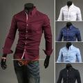 New Arrival 2016 Mens Slim fit Unique neckline stylish long Sleeve Dress Shirts Mens  shirts Free shipping