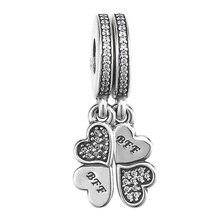 2b2e0cde9136 Auténtica Plata de Ley 925 del encanto del grano de mejor amigo para  siempre de corazón de cristal de pétalos de perlas