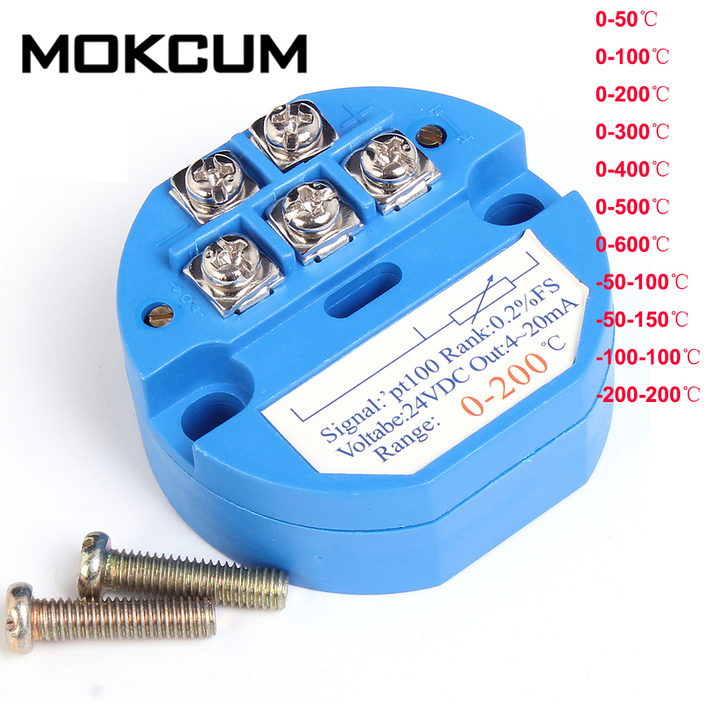 PT100 RTD Temperature Sensor Transmitter Converter from 0 to 100°C 0V-10V
