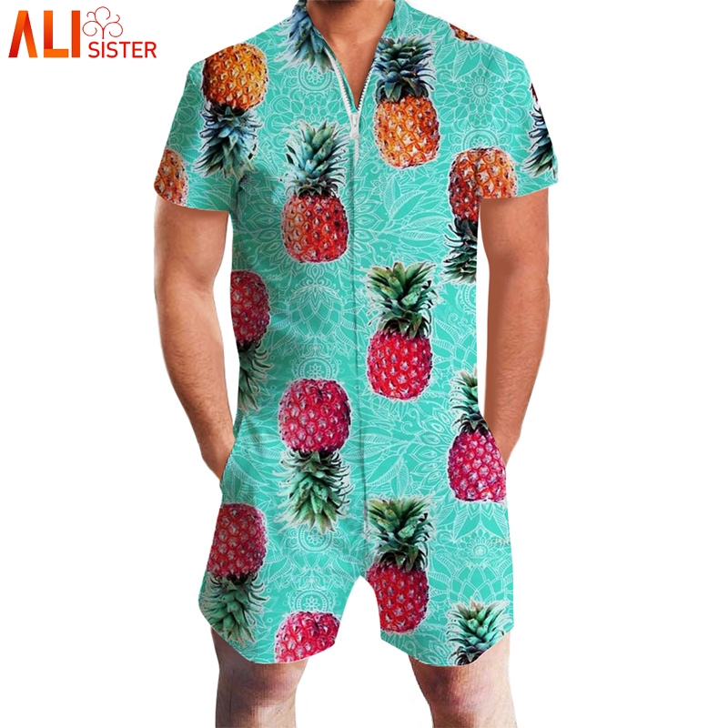 cf1bbbf008c Alisister Pineapple Lemon Print 3d Rompers Men Short Sleeve Funny Jumpsuit  Playsuit Harem Cargo Overalls Summer One Piece-in Men s Sets from Men s  Clothing ...