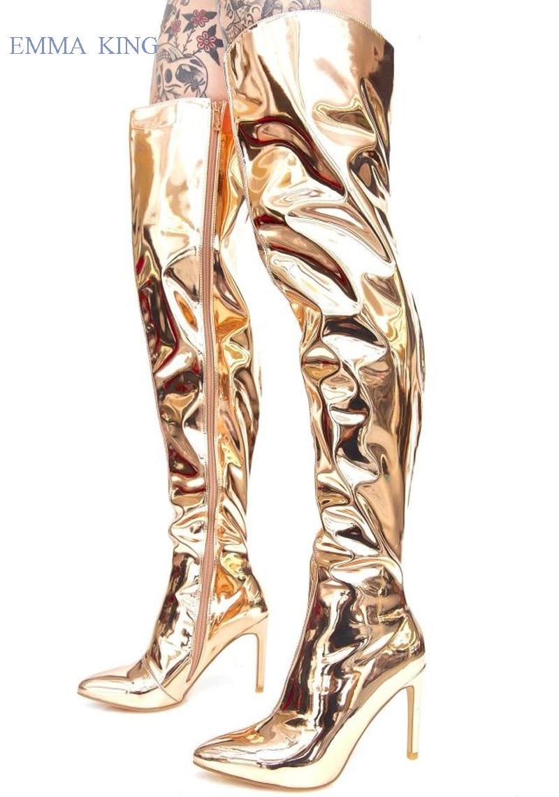 De Haute Genou Bottes Pointu or En Sur Femmes Cuir argent Glissière Latérale Noir Botas Aiguilles Le Hauts Mujer Bout Cuisse Talons Mode Miroir 6gvY7fyb