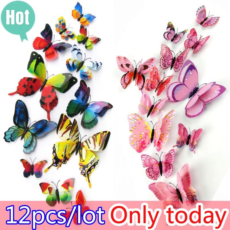 Hot sale 12st / väska 3D PVC Double Wing Butterfly Väggdekaler Hem - Heminredning - Foto 5