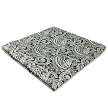 EH23 Silver Grey Paisley Mens Pocket Square Silk Handkerchief Classic Hanky