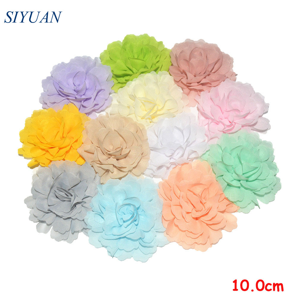 50pcs/lot 10.0cm Large Girl Beautiful Chiffon Flower with Alloy Hair Clip Girl   Headwear   Accessories TH245