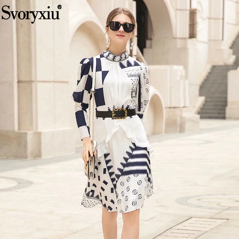 Svoryxiu Summer Runway Dresses Women s High Quality Puff Sleeve Baroque Printing Draped Vacation Party Dress
