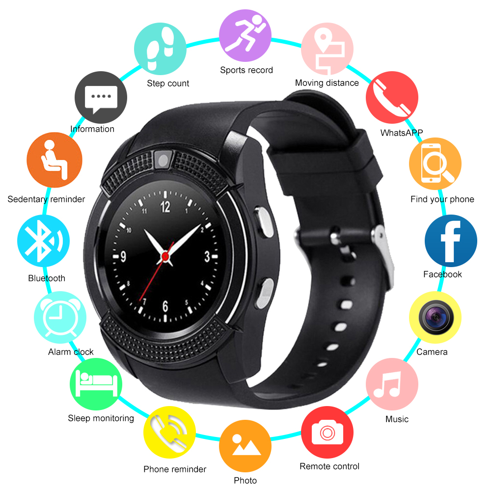V8 Smart Watch Wrist Watch Touch Screen Smartwatch With Camera Support SIM TF Card Bluetooth Couple