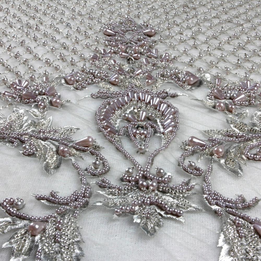 La Belleza 2018 New fashion design super heavy handmade beading crystl pealrs wedding dress lace fabric 1 yard gray ivory fabric