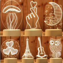 3D lampa stołowa led Jellyfish sowa lampka nocna ABS + żywica multi design lampa dla dzieci sypialnia
