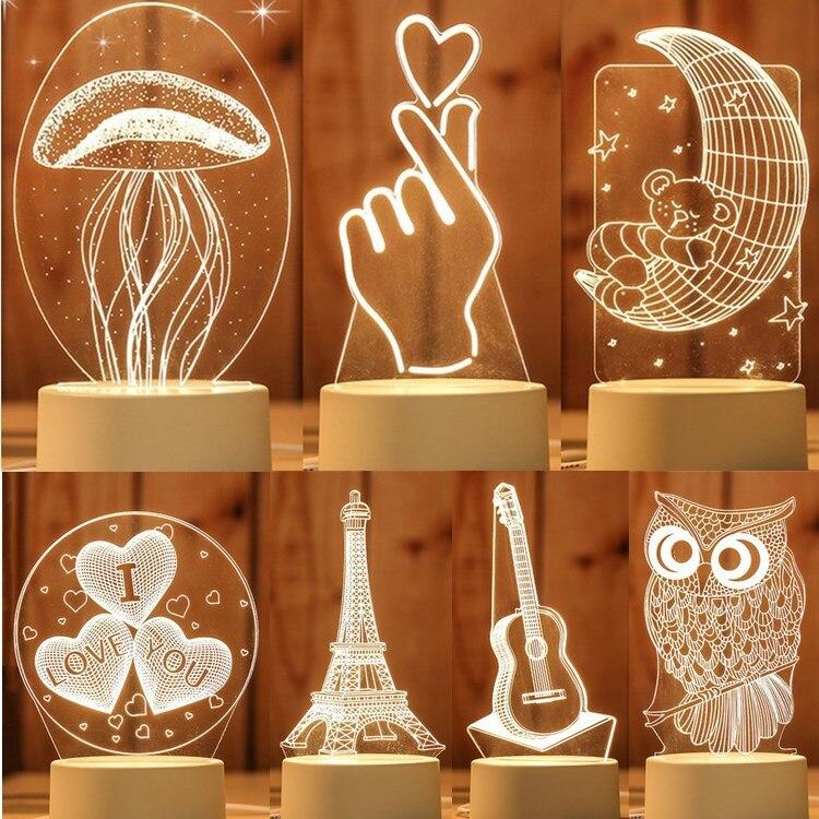 Usb powered 3d conduziu a luz da mesa medusa coruja noite luz abs + resina multi-design lâmpada para o quarto das crianças presente amor urso luz