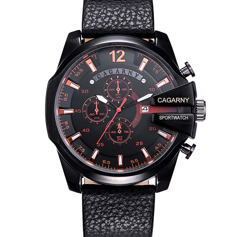 NEW Luxury Brand CAGARNY Men Sport Watches Leather Strap Military Watch Relogio Masculino Male Clock