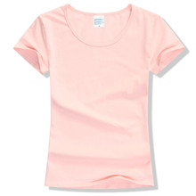 2017 Summer High Quality 15 Color S-2XL Plain T Shirt Women Cotton Elastic Basic Tshirt