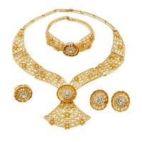 2019 Classic Creative 18 Gold Jewelry Sets Crystal Necklace Ring Earrings European Bridal Wedding Party Gift Jewelry