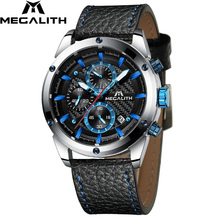 Relogio Masculino MEGALITH Men Watches Top Brand Luxury Watch For Waterproof Leather Srtap Quartz Clock 8004 Wholesale Price