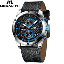 Relogio Masculino MEGALITH Men Watches Top Brand Luxury Watch For Men Waterproof Leather Srtap Quartz Clock 8004 Wholesale Price(China)