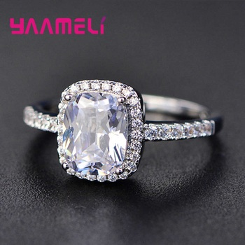 Hot Sale 925 Sterling Silver Finger Ring A++++ Geometry Square Grade Cubic Zircon Stone Sweet Woman Girls Valentines Day Gift 2