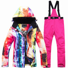 цена на Winter Warm Ski Suit Women Brands High Quality Ski Jacket  Pants Women Warm Waterproof Windproof Skiing and Snowboarding Suits